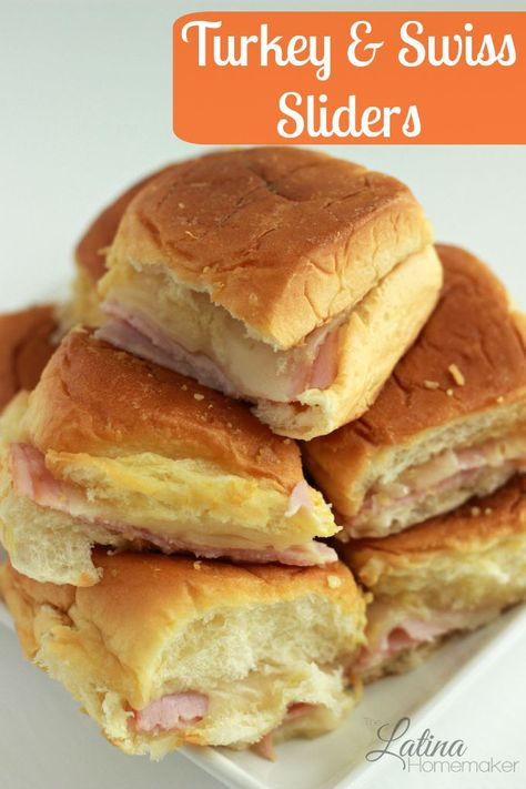 Turkey and Swiss Sliders. A super easy and delicious Turkey & Swiss Slider recipe that you can serve your family on game days or at anytime!