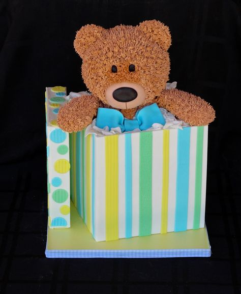 Teddy Bear in a gift box cake for a baby shower www.facebook.com/i.love.cuteology.cakes