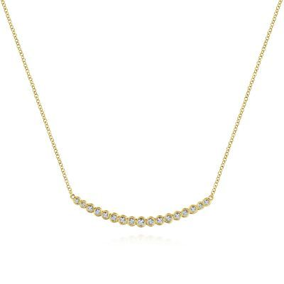 14k Yellow Gold Bar Necklace Featuring Dainty Bezel Set Round Diamonds Which Taper Toward Either End Curved Bar Necklace Yellow Gold Bar Necklace Bar Necklace