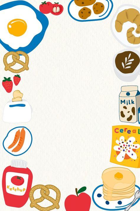 Apple Background, Doodle Background, Beige Background, Food Template, Frame Template, Food Doodles, Food Cartoon, Cute Frames, Aesthetic Template
