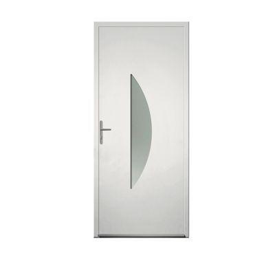 Porte D Entree Aluminium 4 Alu Sim Blanc 90 X H 215 Cm Poussant Gauche En 2020 Porte Entree Aluminium Portes Et Blanc