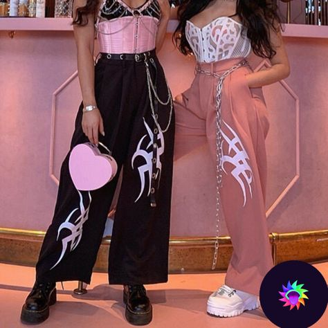 Get Hyper Wide Leg Pants now Exclusively on Shop Your Kind with Free Worldwide Shipping- Hyper Wide Leg Pants on SALE! Edgy Outfits, Grunge Outfits, Girl Outfits, Fashion Outfits, Aesthetic Grunge Outfit, Aesthetic Clothes, Tribal Fashion, Punk Fashion, Latex Fashion