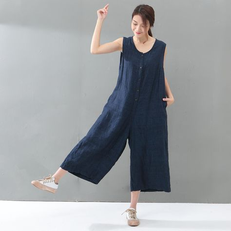 1c756c592 Youthful Single-Breasted Cotton Linen Jumpsuits Summer Plain Baggy ...