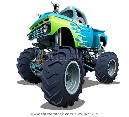 Cartoon Monster Truck Available Eps 10 Separated By Groups And