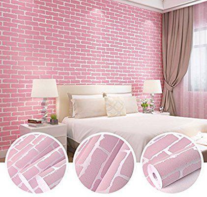 Amazon Com N Sunforest Pink 3d Elasticity Self Adhesive Peel And Stick Brick Grain Non W Baby Nursery Wall Decor Pink Wallpaper Modern Brick Wallpaper Bedroom
