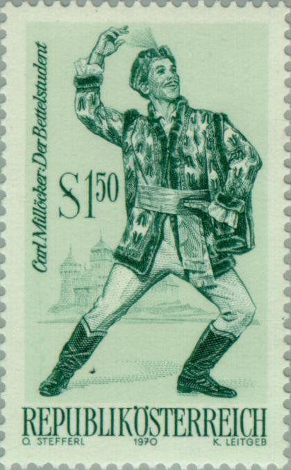Stamp Operette Der Bettelstudent By Carl Millocker Austria Operettes Mi At 1331 Sn At 871 Yt At 1160 Sg At 1585 Afa At 1231 Ank At 13 Student Briefmarken