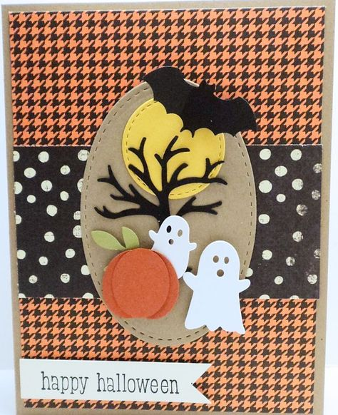 card pumpkin halloween bat ghost ghosts tree fall autumn harvest thanksgiving thankful HALLOWEEN SCENE Card Kit - created with Stampin Up, Memory Box and others by Dani 114 Fröhliches Halloween, Adornos Halloween, Handmade Halloween Cards, Greeting Cards Handmade, Fall Cards, Holiday Cards, Rena, Halloween Greetings, Cricut Cards