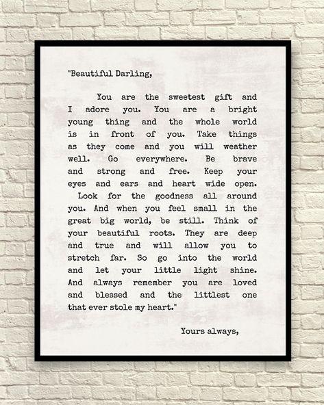 My Beautiful Darling, Art Print, Wall Art, Literary Art Print, Custom Art Print, Letter For Sophie, Gift For Daughter, Typewriter Font Print
