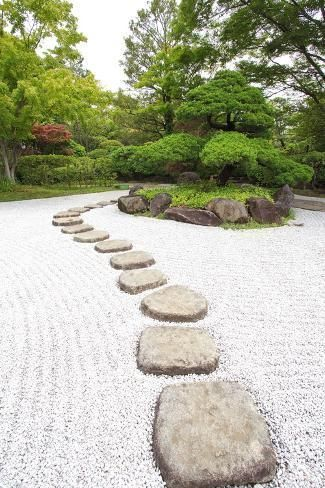 Photographic Print Zen Stone Path In A Japanese Garden By