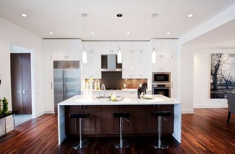 House Remodeling With White Furniture Kitchen And Dark Floors