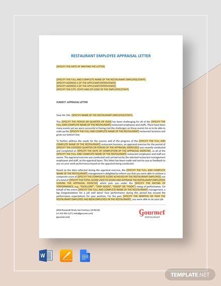 Restaurant Employee Appraisal Letter Template Free Pdf Google Docs Word Template Net Lettering Appraisal How To Make Letters