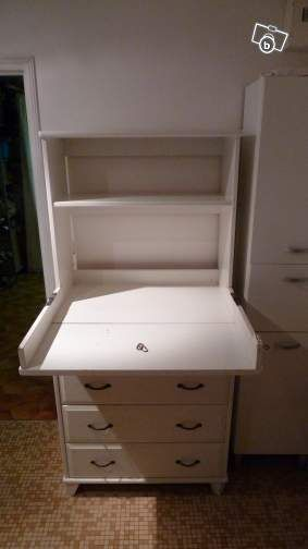 40e commode / table a langer blanc - gain de place equipement bébé