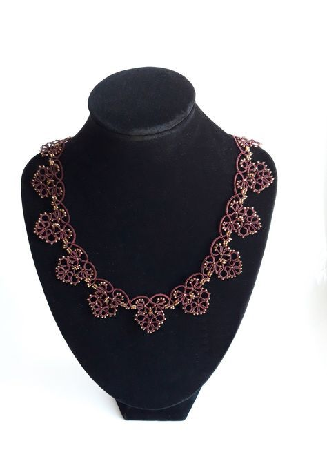 Tatting lace bordeaux necklace with japanese seed beads light and elegant by intatting on Etsy