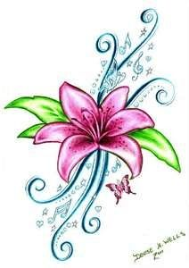 Denise A. Wells Tattoos, Lily Tattoo, Colorful Lily, Butterfly tattoo, Pink lily tattoo, musical notes tattoo, treble clef, treble clef tattoo, Denise tattoo