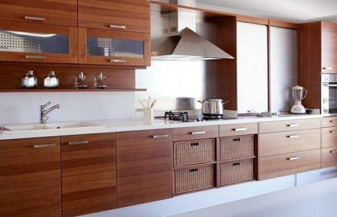 Muebles De Cocina Con Laminado De Madera Roja Cocinasmodernas