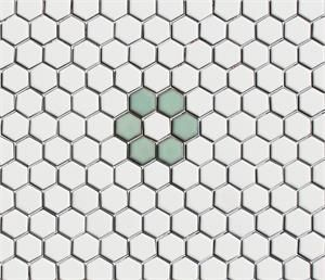Celadon Green White Rosette Hex Tile