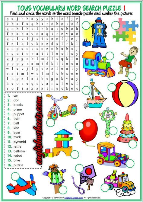 Toys Esl Printable Vocabulary Worksheets Atividades De Ingles