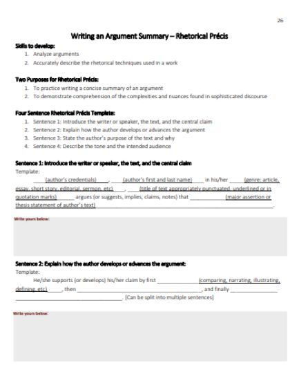 Rhetorical Precis Template 20 Templates Available For Free