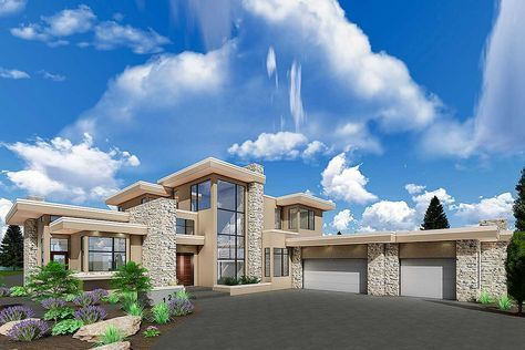 Plan 81695ab Luxury Modern House Plan With Upstairs Master Retreat Luxury House Plans Luxury Modern Homes Modern House Plans