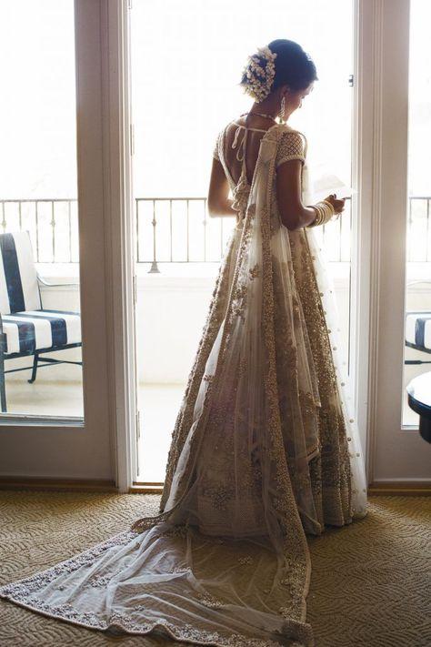 Seema and Avinash, St. Regis Monarch Beach – Elegant Events Seema and Avinash, St. Indian Bridal Outfits, Indian Bridal Lehenga, Indian Bridal Wear, Asian Bridal, Indian Dresses, Bridal Dresses, Indian White Wedding Dress, Indian Wedding Sarees, Indian Beach Wedding