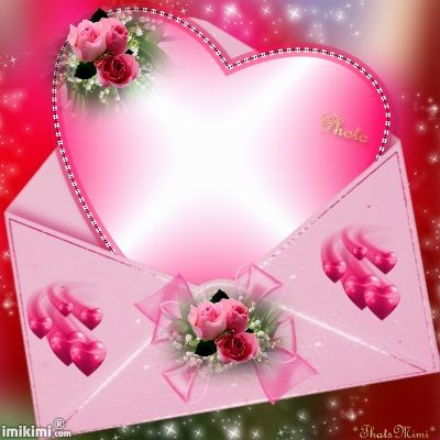 A Perfect Pink Heart With Flowers On It Going Inside A Pink Envelope