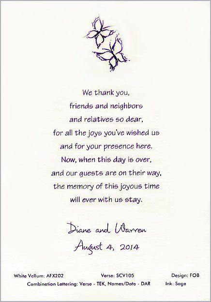 quinceanera thank you verses Butterfly Thank You Scroll P - best of thank you letter format wedding