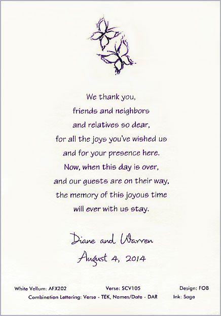 Thank You Note Quinceanera Wedding Scrolls Wedding Thank