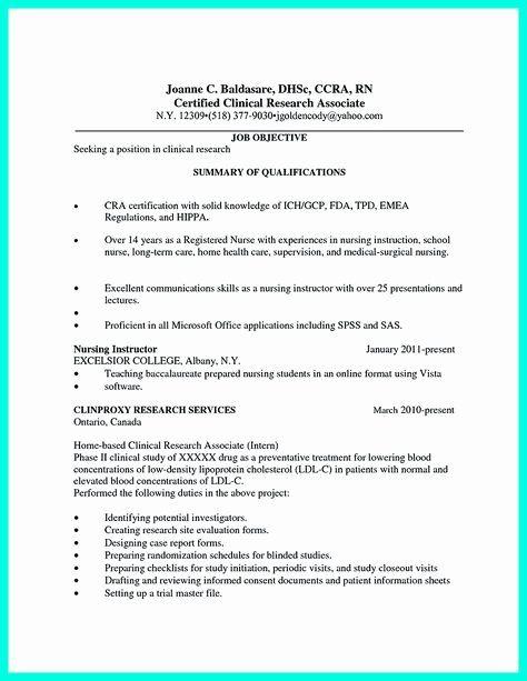 Clinical Research Associate Resume Sample Luxury Careerperfect Healthcare Nursing Sample Resume