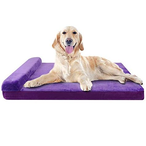 Joicyco Dog Bed Large Orthopedic Foam Dog Bed Mat Washable Mattress With Pillow Machine Washable Cover Dog Bed Large Dog Bed Mat Orthopedic Dog Bed