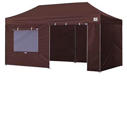 Eurmax Pro 10 X 20 Ez Pop Up Canopy Tent Commercial Canopy Gazebo With Full Walls And Roller Bag Brown Review Pop Up Canopy Tent Canopy Tent Commercial Canopy