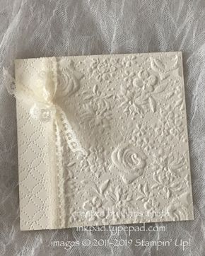 Stampin' Up!®'s Country Floral embossing folder over Quilit Top folder. See my Country Floral Gallery.