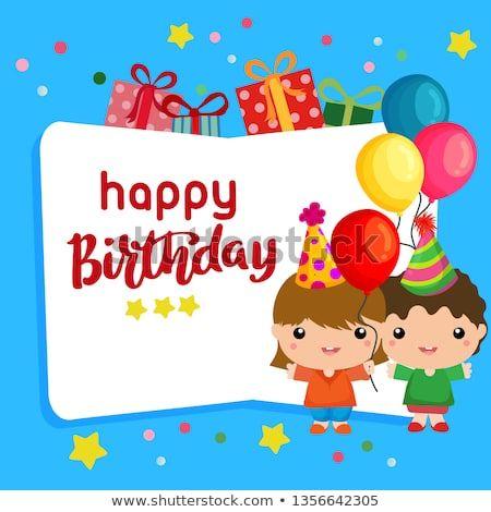 Cute Cartoon Happy Birthday Blue Background With Cute Kids