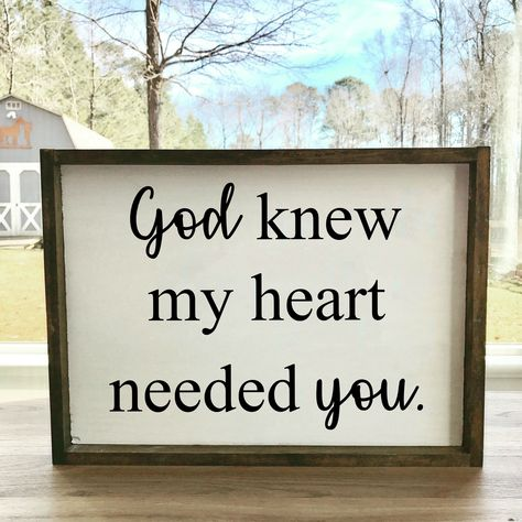 Excited to share the latest addition to my #etsy shop: God Knew My Heart Needed You | Framed Farmhouse Sign | Wedding Present | Gift For Her