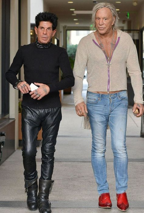 Mickey Rourke and hairdresser friend channel Ben Stiller and Owen Wilson's outrageous Zoolander characters during LA outing