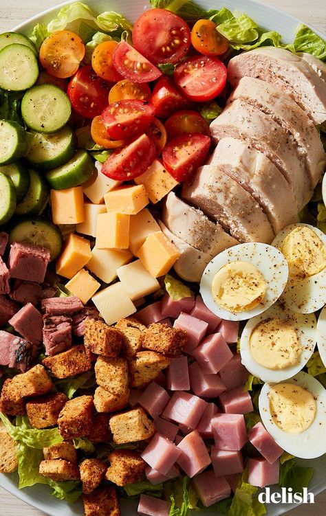 The chef salad has been around for a long time and it's a great staple to turn to. The salad is packed and never boring. It typically comes with three kinds of meat, two cheeses, hard-boiled eggs, and lots of veggies.