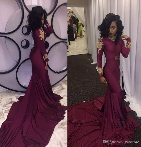 5b9b729875e7 High Neck Gold Appliques Long Sleeve Burgundy Mermaid Prom Dresses 2017  Long Formal Party Gowns Wine Red Evening Gowns Red Carpet Dress B Appliques  Long ...