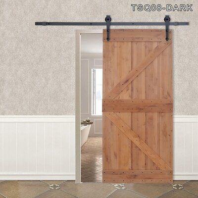 Calhome Panelled Wood Barn Door With Installation Hardware Kit Finish Matte Black Arrow Metal Hardware Alder In 2020 With Images Wood Barn Door Barn Door Barn Style Sliding Doors
