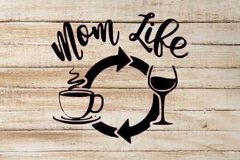 Mom Life Coffee Wine Repeat Vinyl Decal Sticker - Red
