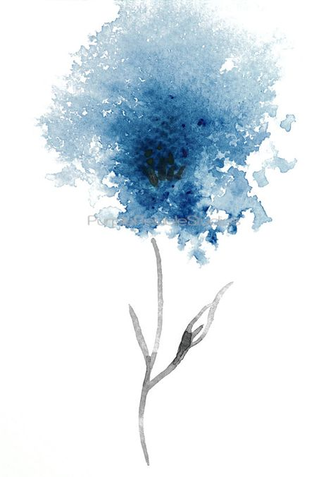 Beautiful Blue Flower Watercolour Wall Art Download This home decor is for you to download and print out at home or take to a professional printers. This is a download of my original fine art watercolour. It has been professionally copied to ensure that you receive at high
