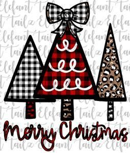 Merry Christmas Tree Trio Buffalo Plaid Leopard Png Clipart Sublimation Design For T Shirts A Christmas Tree Clipart Plaid And Leopard Christmas Wallpaper