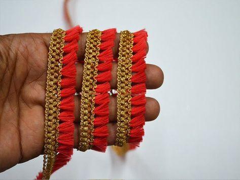 9 Yards Latest Indian Multicolour Lampshade Crafting  Zari Fringe Lace Trim