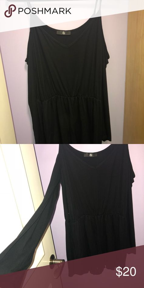 Black Romper Cotton Soft Material Long Sleeve Cold Shoulder Has A Sinch At The Waist Fits Like Large Missguided Dresses