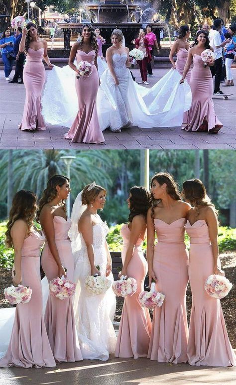Elegant Prom Dresses, Elegant Sweetheart Mermaid Prom Dress Blush Pink Bridesmaid Dress With Sweep Train Shop for La Femme prom dresses. Elegant long designer gowns, sexy cocktail dresses, short semi-formal dresses, and party dresses.