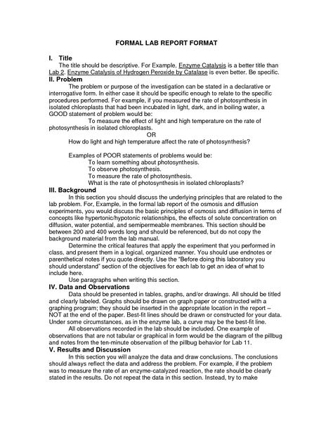 Scientific data , 7 Formal Lab Report Template  Formal Lab Report - Formal Report Format Sample