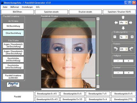 Kreiert normkonforme Passbilder und speichert acht davon auf einem 10x15-Bild im JPEG-Format ab; auf der Herstellerseite finden sich detaillierte Informationen über die bundesdeutschen Anforderungen an Passbilder; auch als erweiterte kostenpflichtige Pro-Version erhältlich.