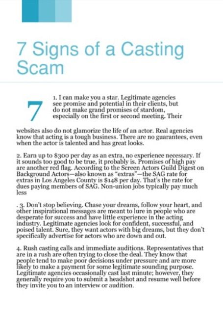 7 #signsOfACastingScam #casting #castingScam #Scam #Audition - talent agent resume