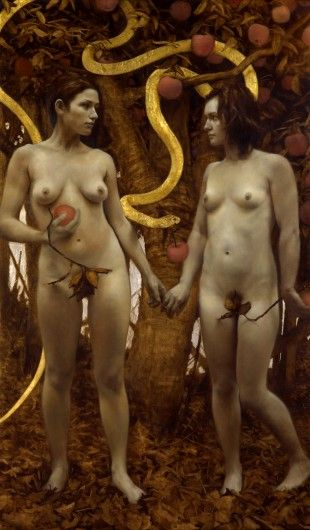 The Proposition, 52 x 31 inches,  Oil and gold and silver on linen, Private collection
