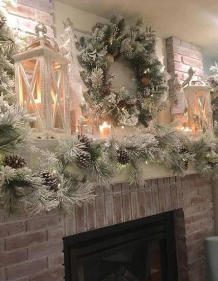 55 Festive Diy Xmas Garlands Ideas Christmas Mantel Decorations Christmas Fireplace Decor White Christmas Decor
