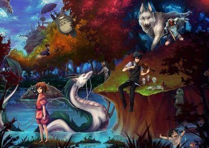 ジブリ大集合イラスト スタジオジブリ作品のキャラクターが集合したイラストのまとめ 宮崎駿 スタジオジブリ ハウルの動く城