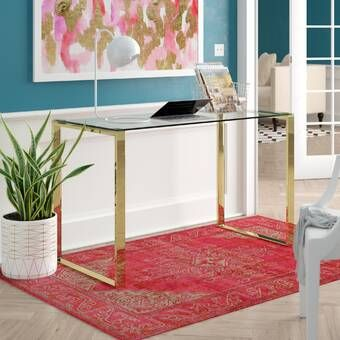Lilly Glass Writing Desk In 2020 Glass Desk Writing Desk Furniture